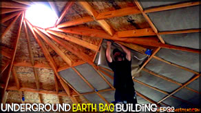 Underground Earth Bag Construction  Episode 32  Reciprocal Ceiling Finish