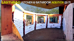 $10 Wood Ceiling, Window Headers & Tank Drop! | Kitchen & Bathroom Earthbag Add-on Ep11 | WP
