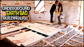 Weekly Peek | Underground Earth Bag Building Ep 22 | Ceiling Tiles, Insulation & Subfloor