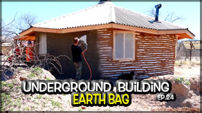 Underground Earth Bag Construction  Episode 24  Exterior Cob & Stucco          Cob Chinking & Applying the Exterior Stucco!