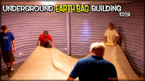 Underground Earth Bag Construction  Episode 35  Downstairs Floor Finish          Rubber Floor, Brackets & Carpet