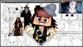 Speed Art of Minecraft Jack Sparrow, Gandalf, Darth Vader, Minions, & Harry Potter Mashup Crossover!